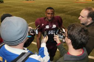 Cedric Jiles with media following Wednesday bowl practice