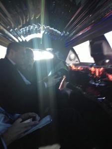 dan and megan in limo