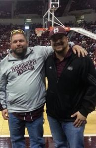 Taylor, left, and Tony, right, at the MSU basketball game