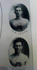 "Don Scott and ""Dudy"" Noble on the track and field page of the 1914 yearbook. (Courtesy: MSU Libraries)"