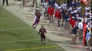 Justin Cox intercepts Bo Wallace (courtesy: ESPN)