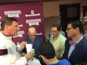 Dan Mullen holding court with national media after the game