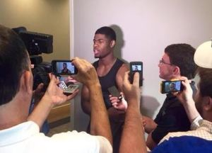 Malik Newman with reporters after his first practice at MSU