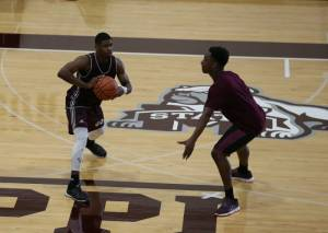 Craig Sword guarding Malik Newman in MSU's first official practice Monday