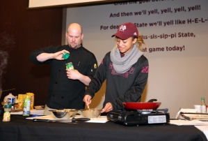 "02-08-16 Life Skills Student athletes participate in the ""Cooking with Kelly"" event hosted by sports dietician Kelly White. The event provided students with hands-on experience making easy, low-cost meals at home. Photo by Kelly Price"