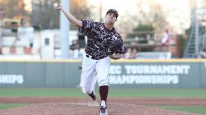 Zac Houston pitching against Nicholls State on Sunday