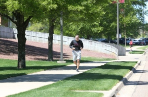 Mullen running on MSU's campus last week