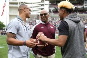 Brian Johnson at MSU's spring game with Dak Prescott and Fred Ross