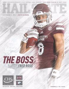 The cover of Saturday's game program, featuring Fred Ross