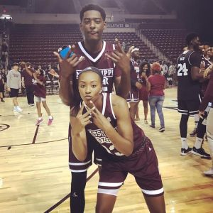Chapel and Holman at Maroon Madness, the preseason basketball pep rally for both teams